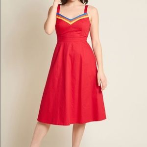 ModCloth Verve Confirmed A-line Midi Dress Red L
